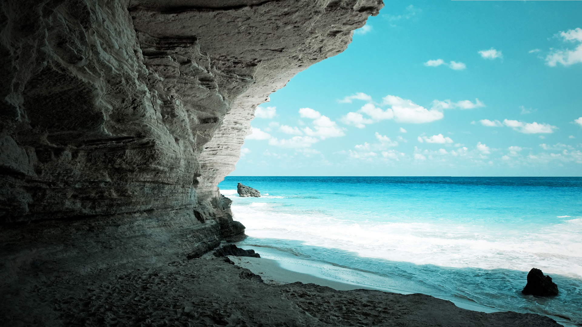 Amazing Cave On The Beach Full Hd Nature Wallpaper